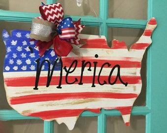 Merica US Flag Wooden Door Hanger