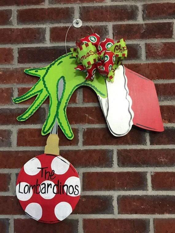 Hand Painted Grinch Door Hanger Personalize