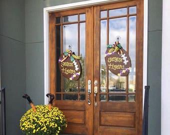Geaux Tigers Wooden Football Door Hanger