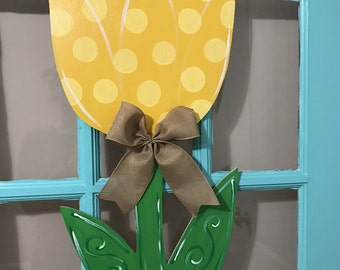 Spring Yellow  Tulip Wooden Door Hanger