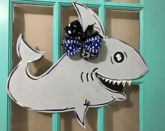 Shark Week Themed Wooden Door Hanger