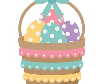 Easter Basket with Eggs Wooden Door Hanger