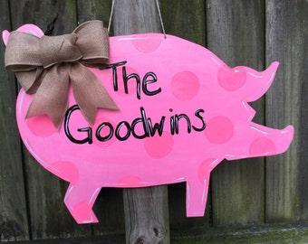 Pink Polka Dot Pig Wooden Door hanger