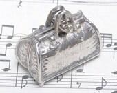 Nickel silver vintage Miniature bag pillbox, vintage box, decorative box