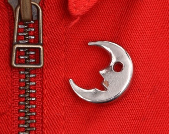 Crescent moon, crescent moon pin, moon pin, moon, crescent moon brooch, pin, brooch, moon brooch, lapel pin, tie pin, moon jewelry, vintage