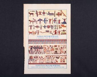 Hieroglyph, illustration print, egyptian Hieroglyph, native Hieroglyph, picture writing, Egypt, ancient Egypt, native, encyclopedia print