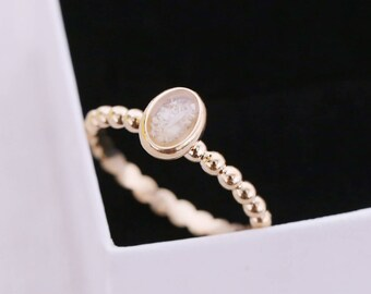 14k Gold Cremation Ring - Gold Stacking Ring - Cremation Jewelry - Ash Ring - Ash Jewelry - Urn Ring - Urn - Pet Loss - Cremation Ring