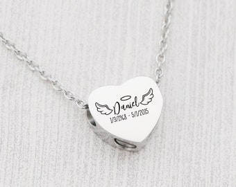 Mini Silver Stainless Heart Memorial Pendant - Cremation Jewelry - Engraved Jewelry - Urn Necklace - Ash Necklace - Angel Wing Pendant
