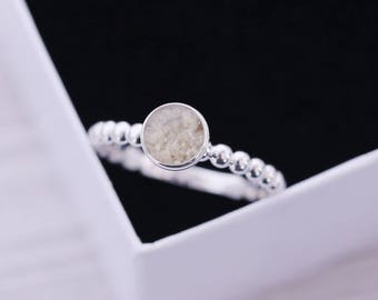 Cremation Ring - Sterling Silver Round Ring - Cremation Jewelry - Ash Ring - Ash Jewelry - Urn Ring - Urn Jewelry - Pet Loss