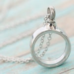 MINI Stainless Memorial Glass Locket Pendant - Cremation Jewelry - Ash Necklace - Urn Necklace - Pet Memorial - Vial Necklace -Vial for Hair