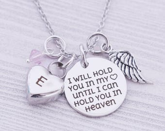 I Will Hold You in My Heart Until I Can Hold You in Heaven Pendant w/Urn & Crystal - Cremation Jewelry - Engraved Jewelry - Custom Engraving