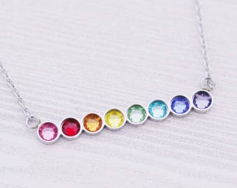 8 Birthstone Bar Necklace - New Baby Gift - Engraved Jewelry - Bar Pendant - Bar Necklace - Gay Pride - LGBT - Rainbow Necklace - Ally