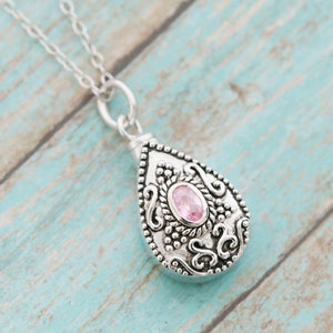 Ash Necklace Sterling Silver Memorial Teardrop Urn Pendant with Birthstone Vial Necklace Pet Memorial Cremation Jewelry November