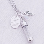 Stainless Memorial Glass Vial Pendant - Cremation Jewelry - Ash Necklace - Urn Necklace - Pet Memorial - Vial Necklace - Vial for Hair