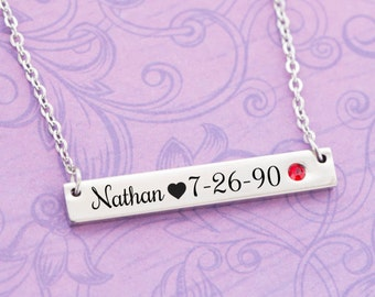 July Birthstone - Ruby Jewelry - New Mom Gift - New Baby Gift - Kids Name Jewelry - Engraved Jewelry - Bar Pendant - Bar Necklace