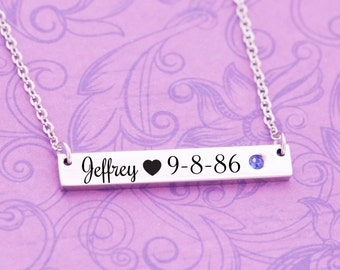 September Birthstone - Sapphire Jewelry - New Mom Gift - New Baby Gift - Kids Name Jewelry - Engraved Jewelry - Bar Pendant - Bar Necklace