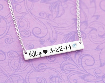 March Birthstone - Aquamarine Jewelry - New Mom Gift - New Baby Gift - Kids Name Jewelry - Engraved Jewelry - Bar Pendant - Bar Necklace