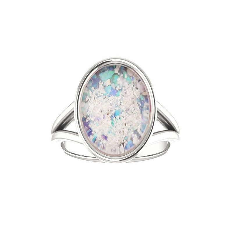 10x14mm Opal Cremation Ring  Sterling Silver Cremation Ring  image 0