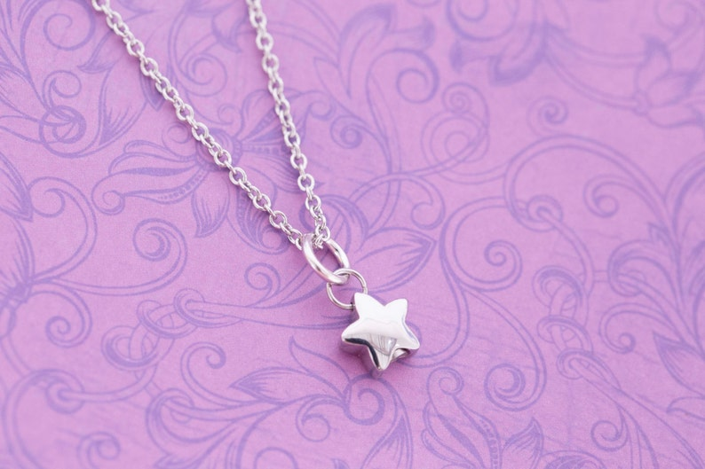 Tiny Stainless Steel Star Urn Charm  For Ashes  Cremation image 0