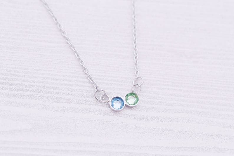 2 Birthstone Bar Necklace  New Mom Gift  New Baby Gift  image 0