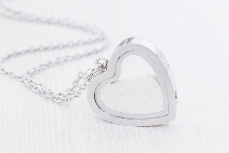 Stainless Memorial Glass Heart Locket  Cremation Jewelry  image 0
