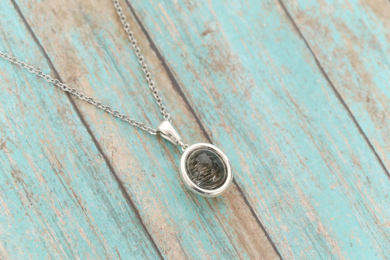 Cremation Jewelry Ash Necklace Cremation Necklace Vial Necklace Pet Memorial Sterling Silver Tourmalated Quartz Urn Pendant