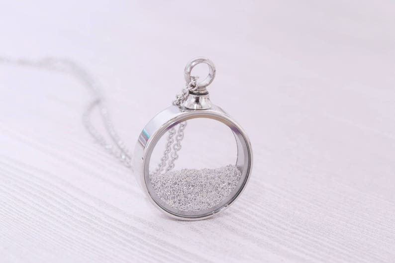 Stainless Memorial Glass Locket Pendant  Cremation Jewelry  image 0