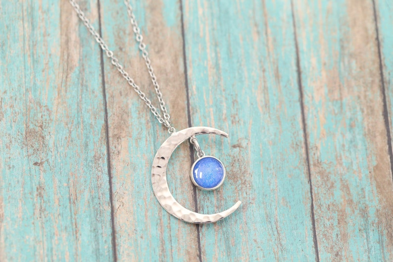 Ash Jewelry Ash Necklace Urn Jewelry Pet Loss Urn Cremation Jewelry Sterling Silver Moon Cremation Ash Pendant
