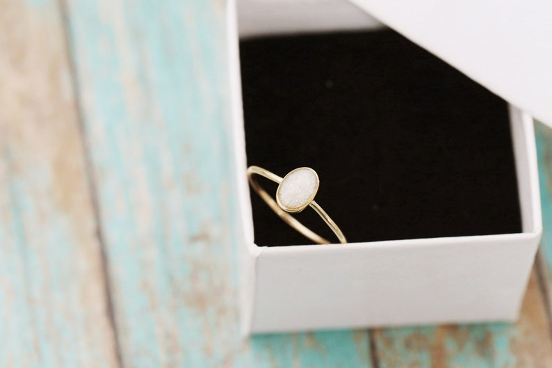 14k Gold Cremation Ring  Thin Gold Stacking Ring  Cremation image 0