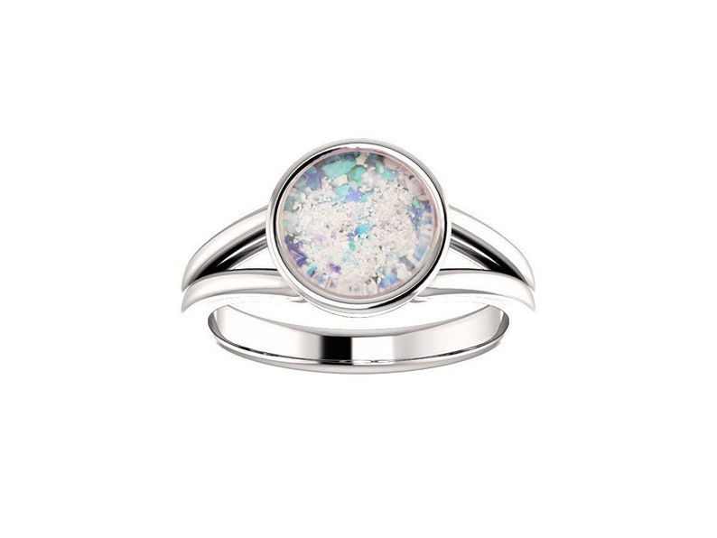 8mm Opal Cremation Ring  14k White Gold Cremation Ring  image 0