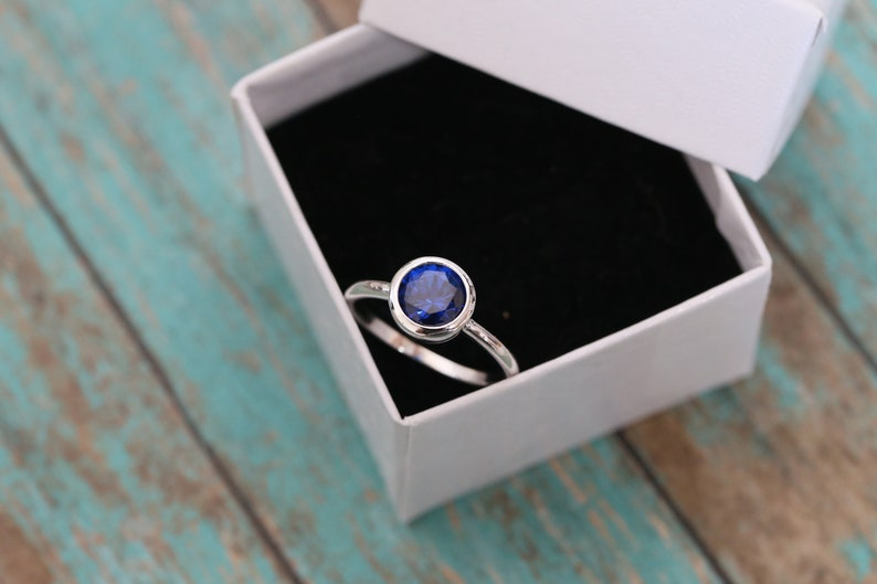 8mm Cremation Ring  Sterling Silver Blue Stone Ring  image 0