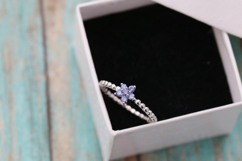 Sterling Silver Flower Stacking Ring  Birthstone Ring  New image 0
