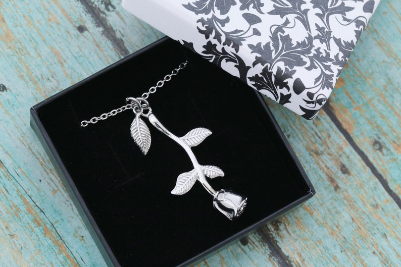 Stainless Steel Rose Cremation Urn Necklace  Metal Urn  image 0
