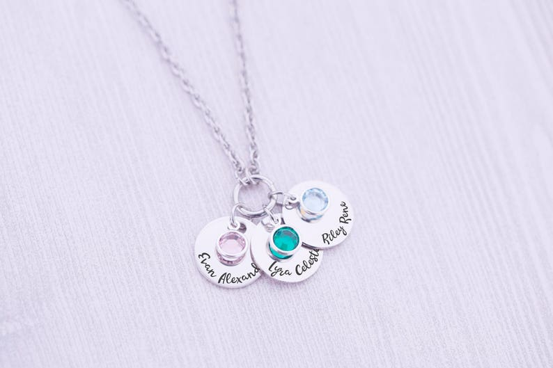 Mother's Necklace  Engraved Necklace with Birthstones  image 0