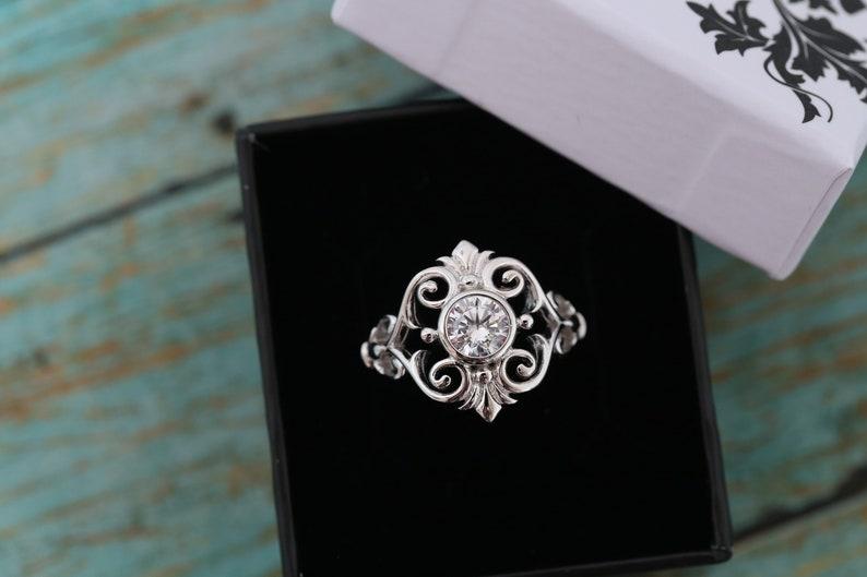 Cremation Ring  Sterling Silver Fleur de Lis Flower Ring  image 0