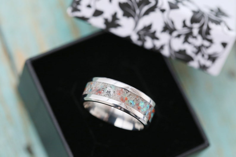 Cremation Band Ring  Opal Cremation Ring  Cremation Jewelry image 0