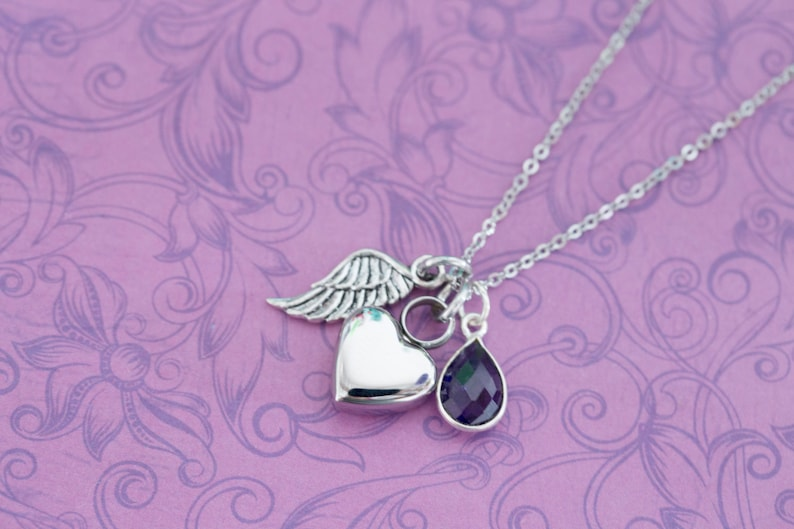 Mini Amethyst Memorial Pendant with Angel Wing  Cremation image 0