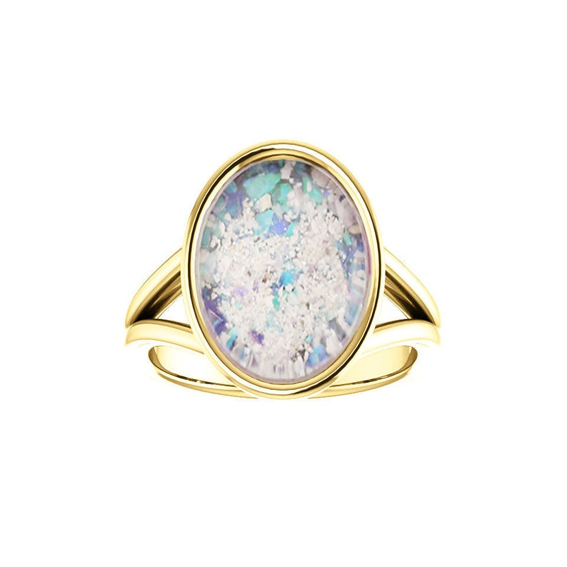 10x14mm Opal Cremation Ring  14k Yellow Gold Cremation Ring  image 0