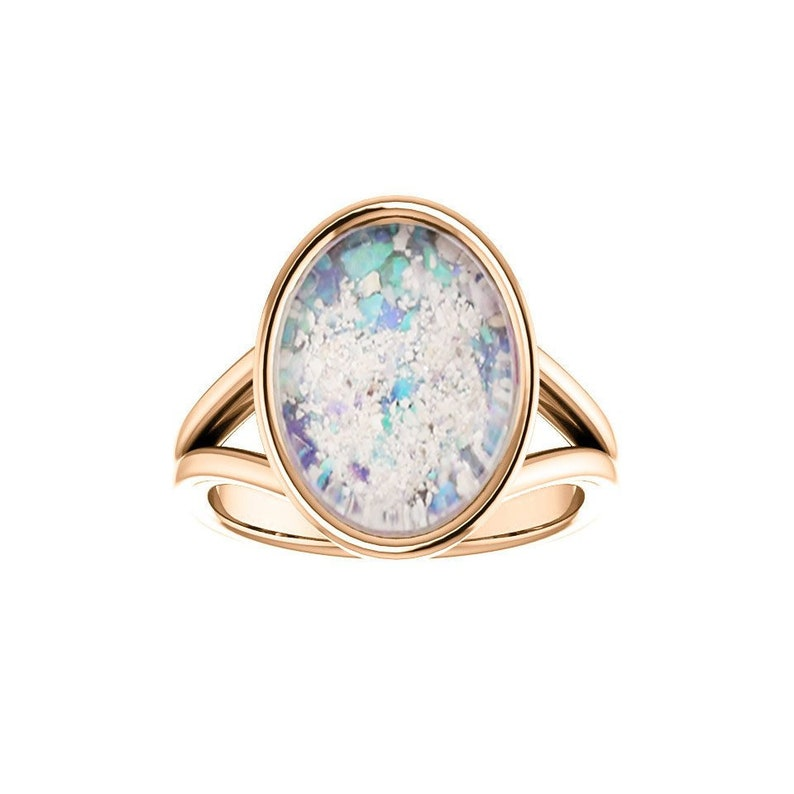 10x14mm Opal Cremation Ring  14k Rose Gold Cremation Ring  image 0