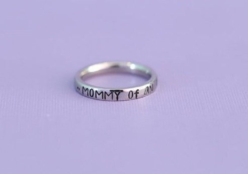 Engraved Mommy of An Angel Stainless Steel Stacking Ring  image 0