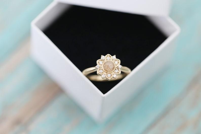 14k Gold Cremation Ring  Diamond Flower Stacking Ring  image 0