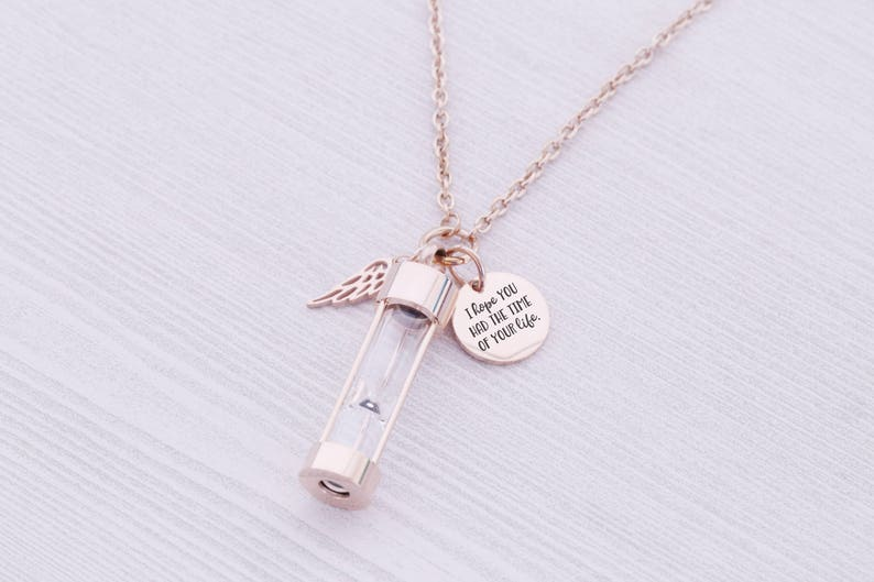 Rose Gold Stainless Memorial Hourglass Pendant  Cremation image 0