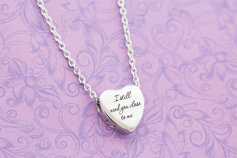 Silver Stainless Heart Memorial Pendant  Cremation Jewelry  image 0