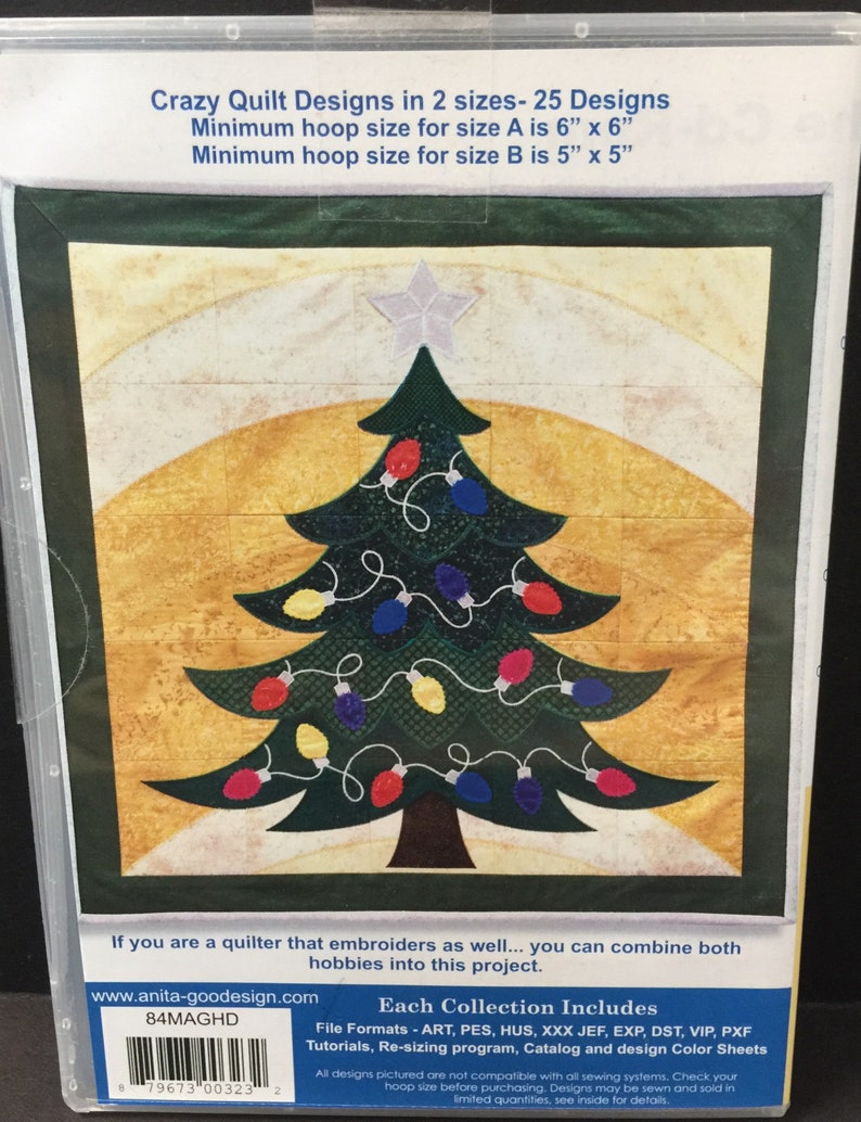 Anita Goodesign Christmas Tree Crazy Quilt Embroidery CD