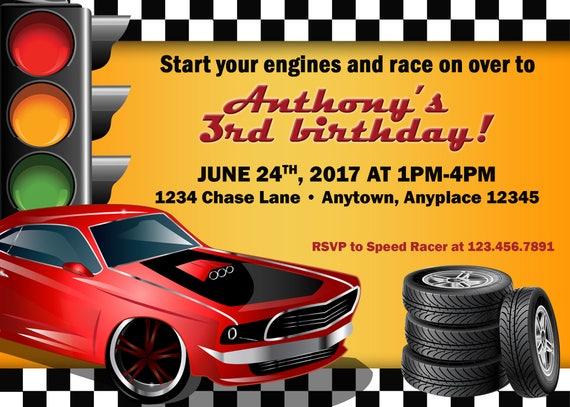 Rennsport Geburtstag Auto Einladung Racer Einladung Kind Etsy