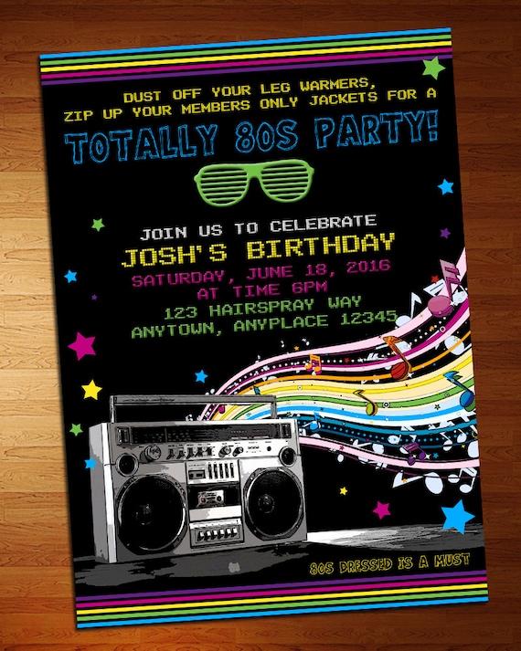 80 s party invitation 80s party retro invite etsy