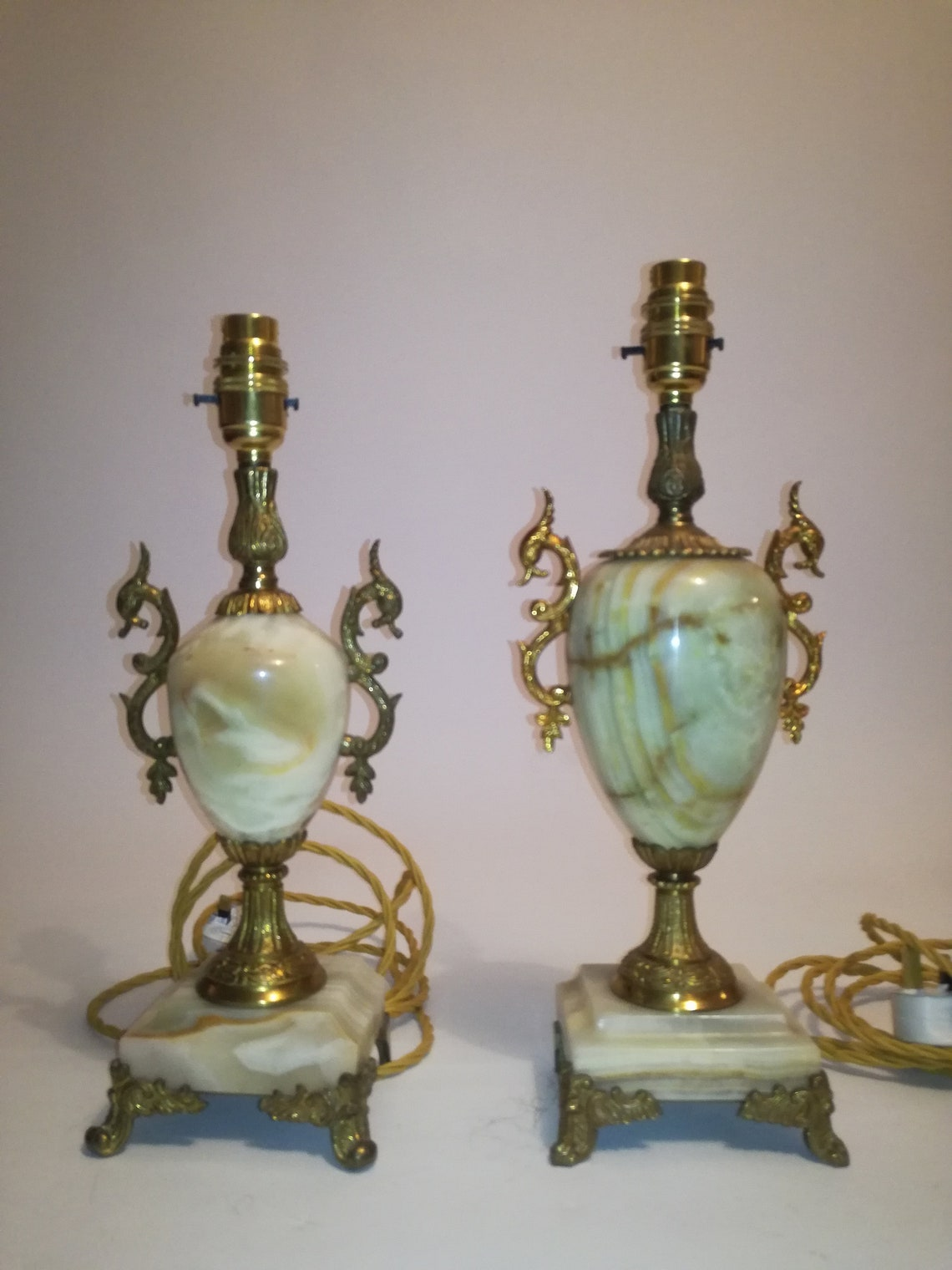 """Mid Century Brass and onyx table desk Lamps -  """"close pair"""" one is slightly bigger - small difference to footings  1950 1960  England , - Eclairage"""