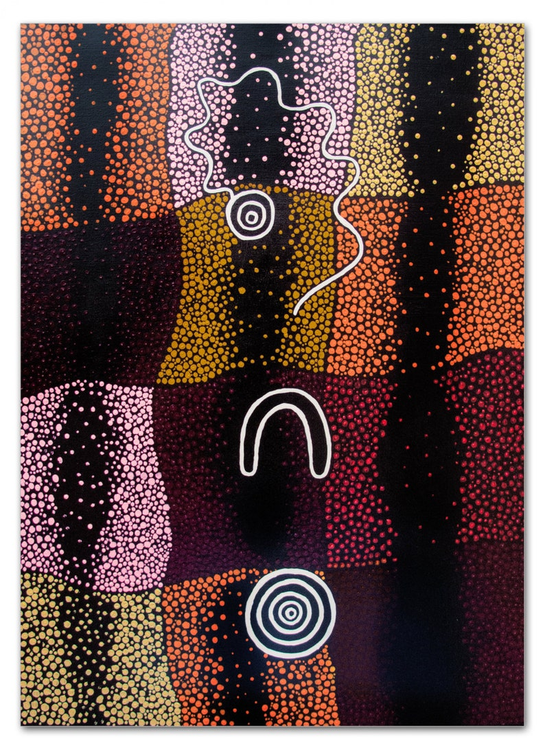 Aboriginal Style Art Dot Painting A Waterhole A Woman And A Etsy