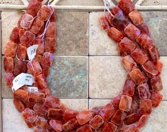Reduced Faceted rectangular shaped fire agate