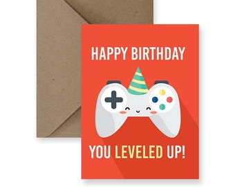 Funny Birthday Card For Friend Him Cute Her Boyfriend Video Game Gifts